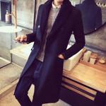 Long Trench Lapel Fur Collar Thicken Warm Wool Coat