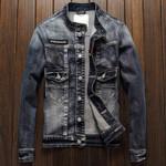 Locomotive Denim Jacket Male Designer Slim Fit