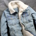 Fleece Jacket Fashion Slim Fit Jean Jacket Denim Coat