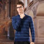 Brand Pure Merino Wool Sweaters Striped O-Neck