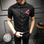 Casual Shirt Embroidery Flower Short Sleeve Slim Fit