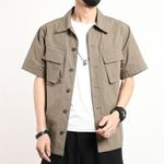Casual Shirt Short Sleeve Cotton Cargo Solid Shirts