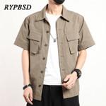 Multi-pocket Cotton Short Sleeve Casual Shirt Oversized