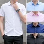 new Luxury quality pure cotton solid striped short sleeve shirts