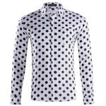 Dots Vintage Shirts Long Sleeve Cotton Black White Plus Size