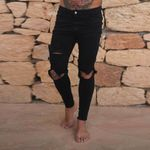 Fashion Solid Balck Jeans Sexy Hip Hop Ripped Hole Distresses