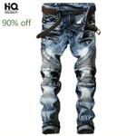 New Fashion High Street Biker Jeans Pants Slim Fit