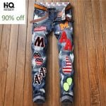 New Straight Leg Jeans Fashion Embroidery Patches