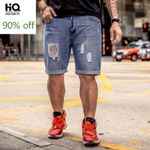 Straight Hole Ripped Vintage Knee Length Male Trousers