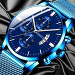 Business Watch Calendar Blue Stainless Steel Watches