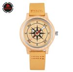 Compass Direction Display Bamboo Watch Brown Genuine