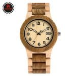 Business Wood Watch Calendar Auto-Date Display Arabic Numerals