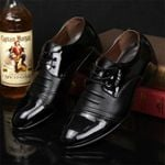 Black Leather Business Dress Shoes Retro Patent Leather