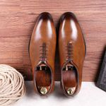 Genuine cow leather brogue wedding Business casual flats shoes