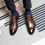Oxford Shoe Genuine Cow Leather Lace up Formal Shoes