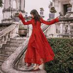 vintage solid red dress chic elegant long flare sleeve