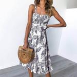 Print Sleeveless Dress Sundress Vintage Female Straps