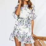 Mini Boho Floral Dress Beach Short Sleeve O Neck