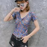 Floral Print V-Neck Tie T Shirt Boho V Neck Slim Fit Crop Top