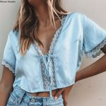 boho casual solid color lace short sleeve t shirt sexy tops