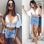 Boho Lace T-Shirts Flare Sleeve Loose V-Neck Crop Tops