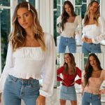 Boho Style Beach Long Sleeves Solid Square Collar Crop Tops