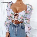 Wide Square Collar Puff Sleeve Floral Crop Top