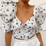 shirts vintage button floral print short blouse