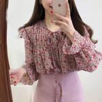 Floral Chiffon Blouse Ruffle Bow Shirts Long Sleeve
