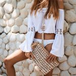 Boho Beach Off Shoulder Crop Tops and Blouses Elegant