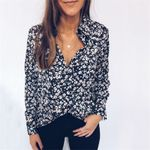 Floral Tops and Blouses elegant Long Sleeve Flower Shirt