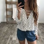 blouses pokla dot Loose Blouse Casual Shirt