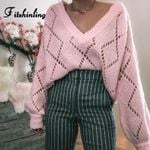 Fitshinling Hollow Out V Neck Pink Jumper Sweaters