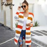 Boho Striped Long Cardigan Knitted Jackets Sweaters