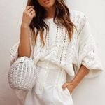 white sweater oversize loose pullover sweater