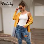 Fitshinling Patchwork Pockets Long Cardigans Sweater Boho