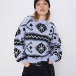 blue Ethnic pattern sweater oversize loose pullover