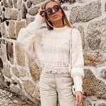 lace sweater oversize pullover sweater