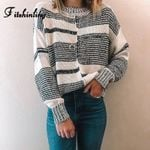 Casual Black White Striped Sweaters Long Sleeve Pullovers