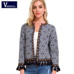 Vangull Bohemian Embroidered Jacket Basic Tassel Vintage