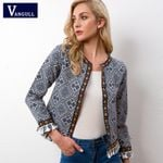 Tribal Embroidered Jacket Blue Vintage Fringe Tape