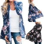 Fashion Floral Long Sleeve Open Front Blouse Loose