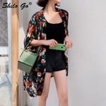 Boho Multicolor Floral Print Batwing Sleeve Kimono