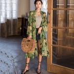 Kimonos Cardigan Green Long Sleeve Chiffon Blouse Vintage