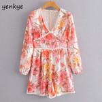 Vintage Floral Print Jumpsuit Lace Trim V Neck Long Sleeve