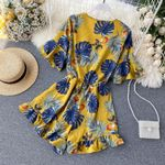 Boho v neck Sexy floral print ruffles flare sleeve tie Jumpsuit