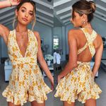 Boho Floral Print Chiffon Playsuit Sexy Halter Sleeveless Rompers