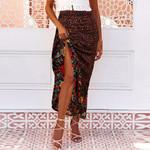 Pleated Long Maxi Skirts Floral Print Elastic Waist Skirt