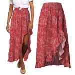 Boho Skirt Long High Waist Floral Irregular Split Sexy