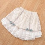 Boho Linen Embroidery Bow Tunic Elastic Waist Skirts Shorts